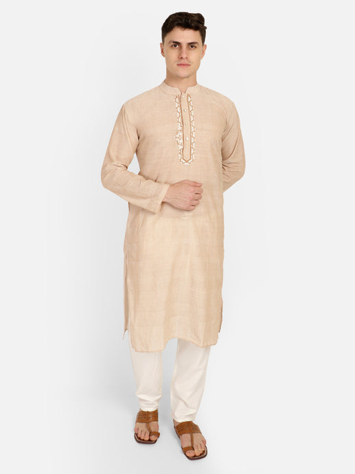 PAROKSH Men Beige Embroidery Straight Kurta