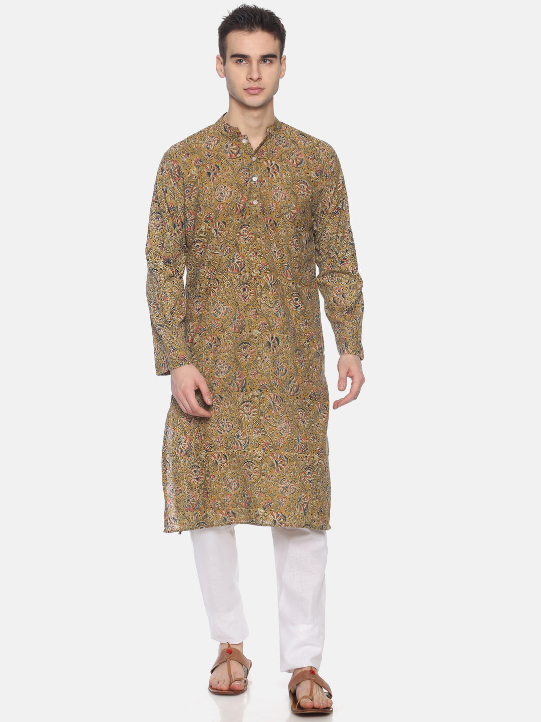 PAROKSH Men Green striped cotton Straight Kurta