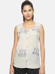 SAHORA Women blue dyed indigo blockprint Top