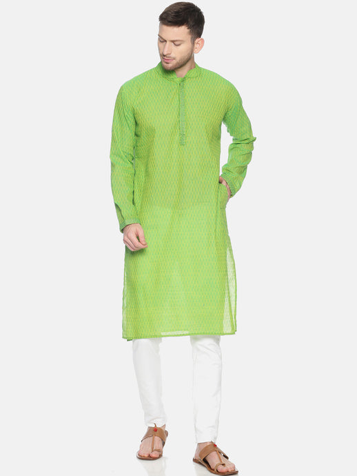PAROKSH Men light green Geometric cotton Straight Kurta