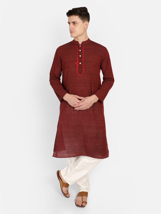 PAROKSH Men Maroon Embroidery Straight Kurta