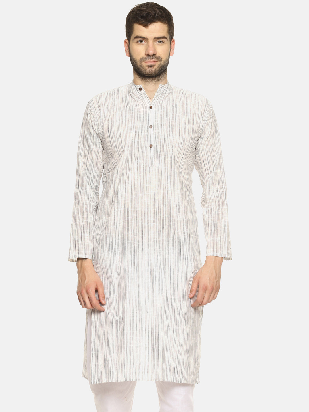PAROKSH Men white line detail cotton Straight Kurta