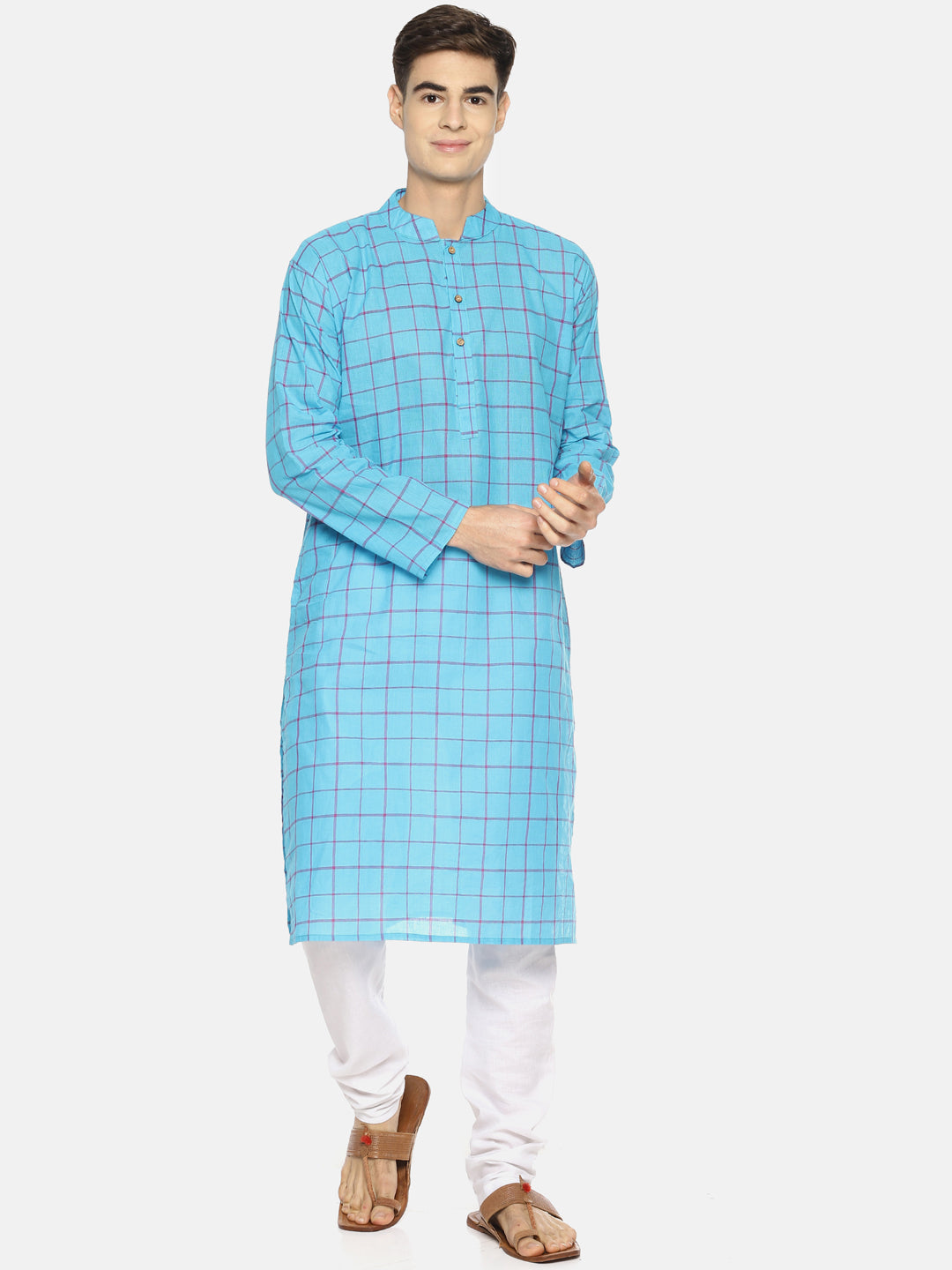 PAROKSH Men sky blue checkered cotton Straight Kurta