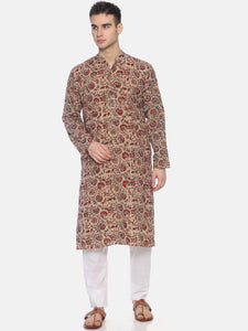 PAROKSH Men Beige & Red Printed Straight Kurta