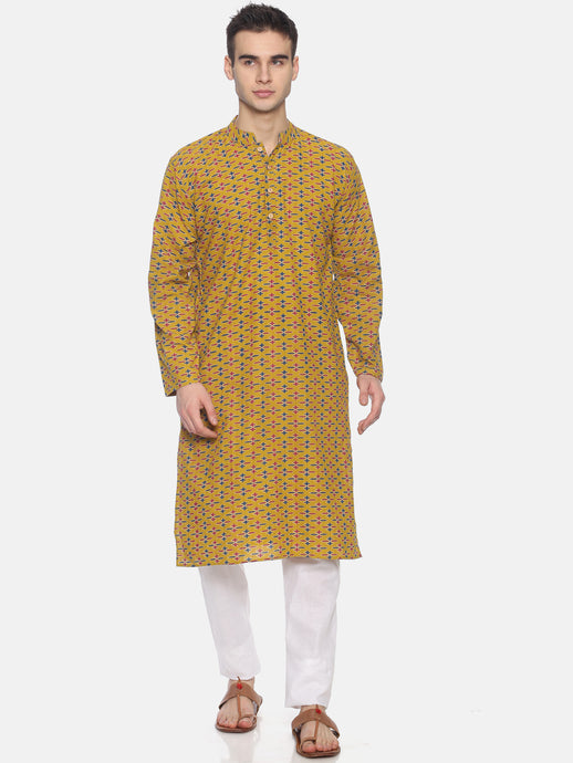 PAROKSH Men Mustard Yellow & Blue Woven Design Straight Kurta