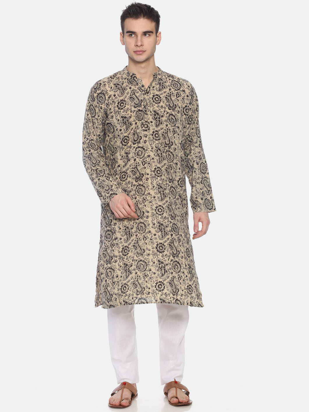 PAROKSH Men Beige & Black Printed Straight Kurta