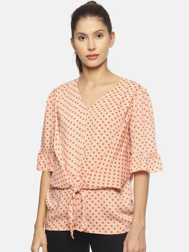 SAHORA Women orange polka dot Printed Top