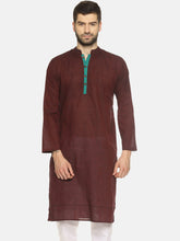 PAROKSH Men Maroon placket cotton Straight Kurta