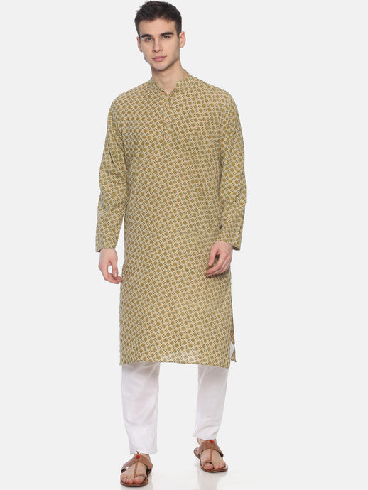 PAROKSH Men Beige & Olive Green Printed Straight Kurta