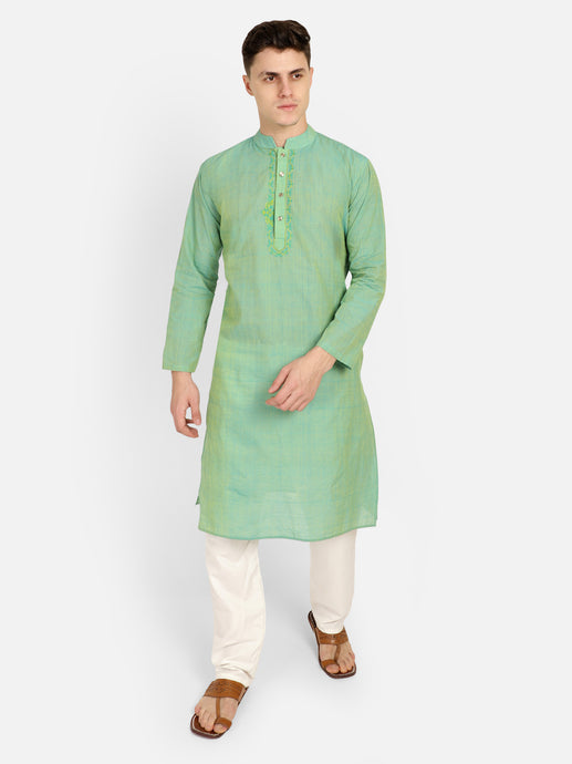 PAROKSH Men Light green  Printed Straight Kurta