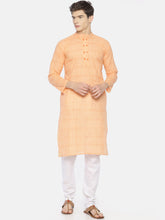 PAROKSH Men peach dual button cotton Straight Kurta