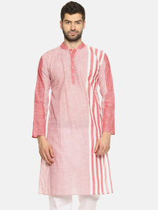 PAROKSH Men pink line detail cotton Straight Kurta