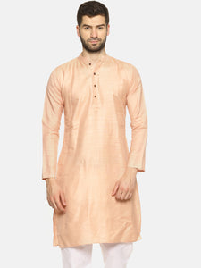 PAROKSH Men Solid peach cotton Straight Kurta
