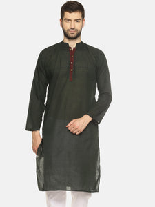 PAROKSH Men olive placket cotton Straight Kurta