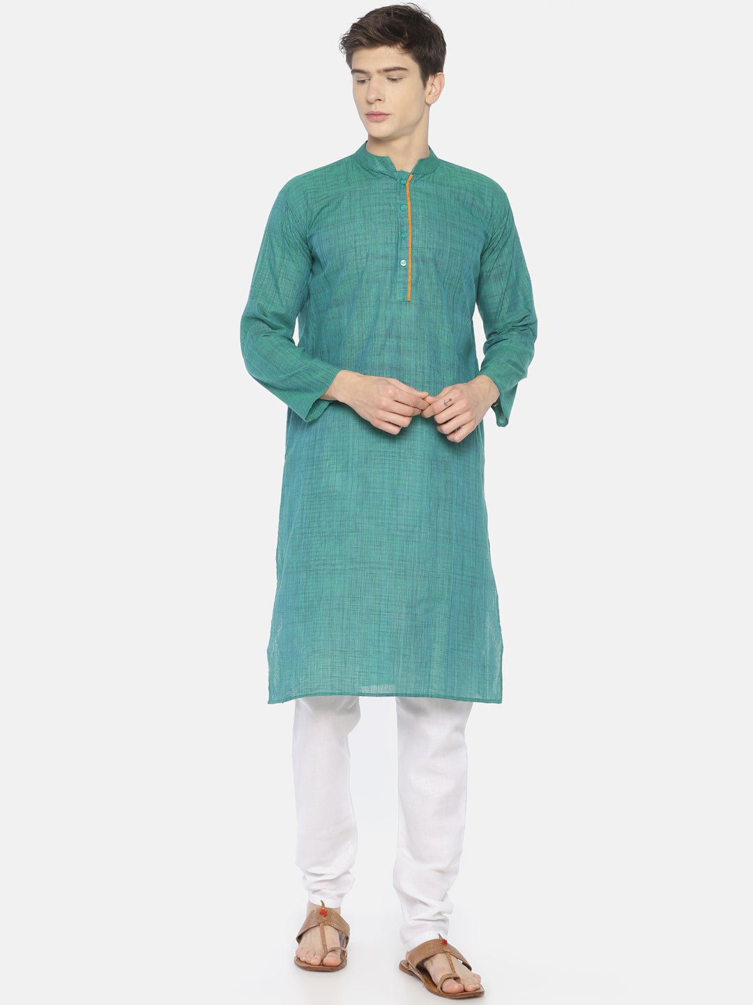 PAROKSH Men peacock blue placket cotton Straight Kurta