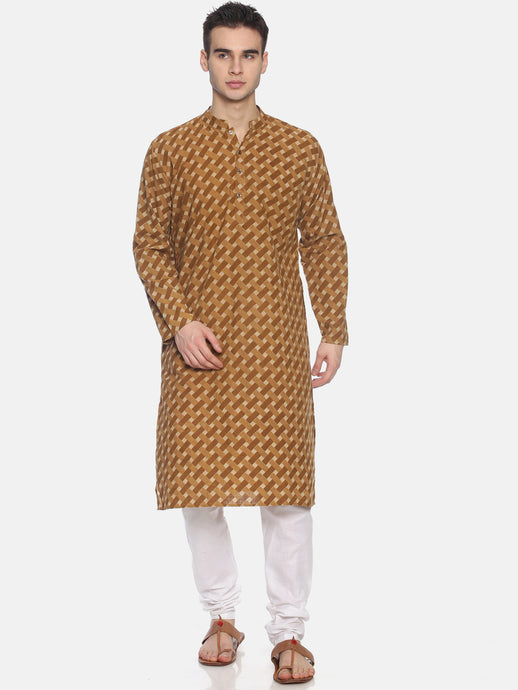 PAROKSH Men Beige & Brown Printed Straight Kurta