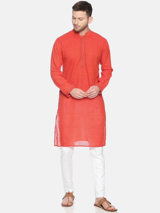PAROKSH Men Red Geometric cotton Straight Kurta