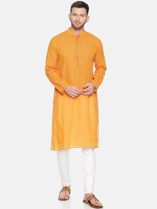 PAROKSH Men Yellow Geometric Dobby Border cotton Straight Kurta
