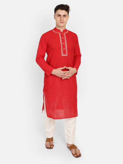 PAROKSH Men Red Embroidery Straight Kurta
