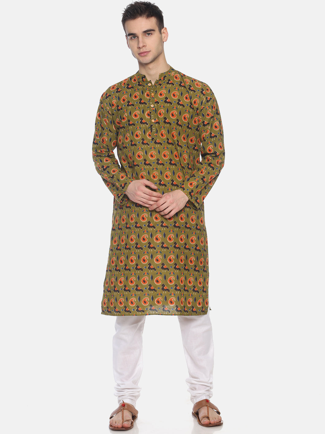 PAROKSH Men Olive Green & Orange Printed Straight Kurta