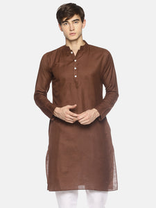PAROKSH Men Solid Brown cotton Straight Kurta
