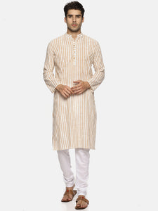 PAROKSH Men Beige striped cotton Straight Kurta