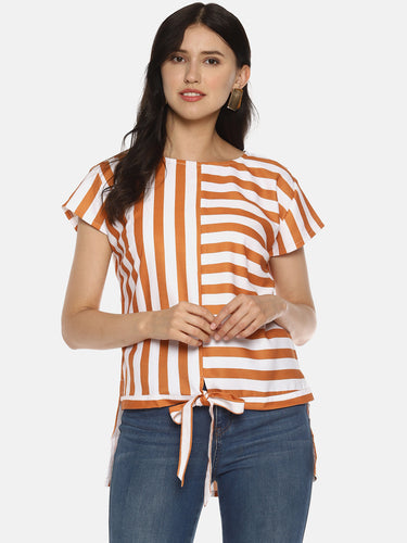 SAHORA Women orange striped Printed Top