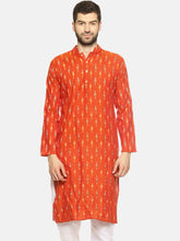 PAROKSH Men orange woven Ikat handloom Straight Kurta