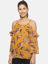 SAHORA Women printed cold shoulder Top