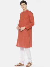 PAROKSH Men Red placket cotton Straight Kurta