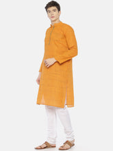 PAROKSH Men Orange placket cotton Straight Kurta
