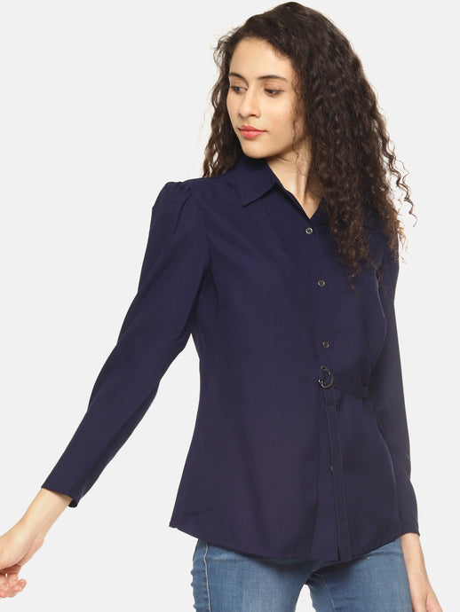 SAHORA Women blue belted solid collar shirt