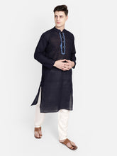PAROKSH Men Navy Blue & White Embroidery long Kurta