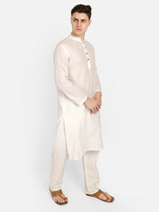PAROKSH Men White Solid long Kurta