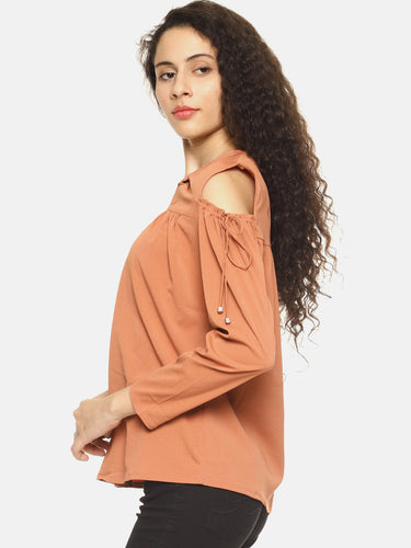 SAHORA Women solid cold shoulder Top
