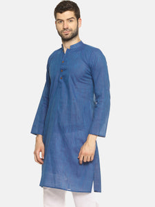 PAROKSH Men solid royal blue cotton Straight Kurta
