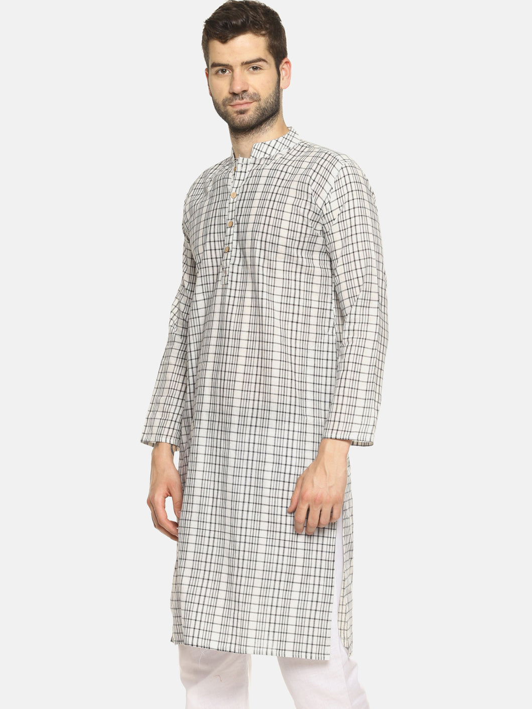 PAROKSH Men checkered white cotton Straight Kurta