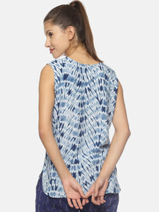 SAHORA Women blue tiedye shibori Top