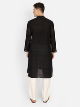 PAROKSH Men  Black  Straight Kurta
