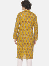 PAROKSH Men Mustard yellow cotton block print Straight Kurta
