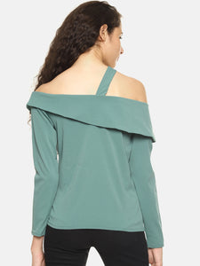 SAHORA Women solid one shoulder Top