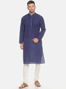 PAROKSH Men Polka Dots blue  cotton Straight Kurta