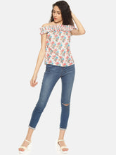 SAHORA Women Peach & Blue Floral Print Bardot Top