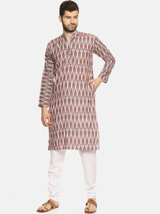 PAROKSH Men Mauve Grey woven Ikat Straight Kurta