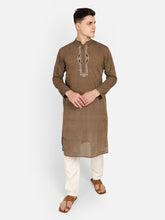 PAROKSH Men Brown Embroidery Straight Kurta