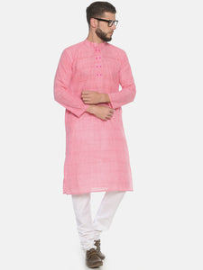 PAROKSH Men Pink dual button cotton Straight Kurta