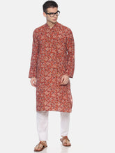 PAROKSH Men Red Floral Printed Straight Kurta