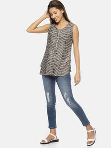 SAHORA Women grey tiedye shibori Top