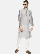 PAROKSH Men grey line detail cotton Straight Kurta