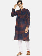PAROKSH Men blue checkered cotton Straight Kurta